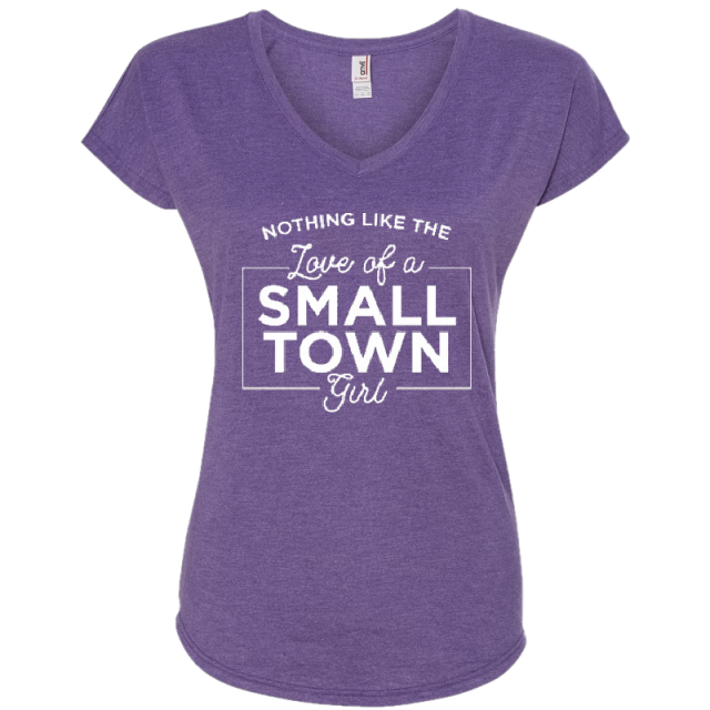 "Steve Wariner Ladies Heather Purple ""Small Town Girl""  V Neck Tee"